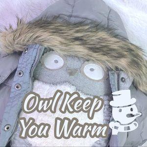 AEO Grey Silver Warm Puffer Coat Faux Fur Hood XS